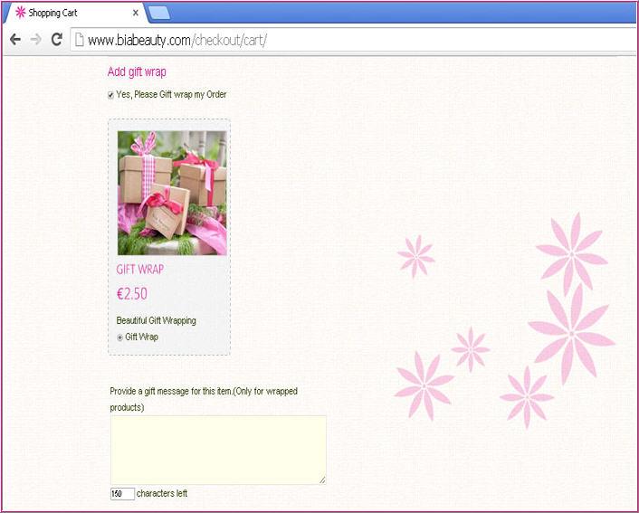 Gift wrap Page in Biabeauty Customer website